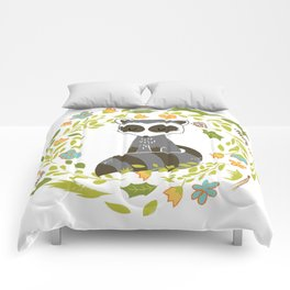 woodland raccoon folk flower wreath illustration Comforters