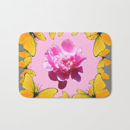 YELLOW BUTTERFLIES & PINK PEONY ON PINK-GREY ART Bath Mat