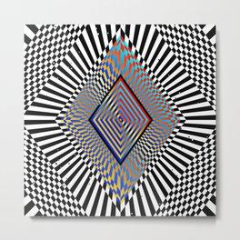 Matrix processor. Holographic hypnotic pattern. Metal Print