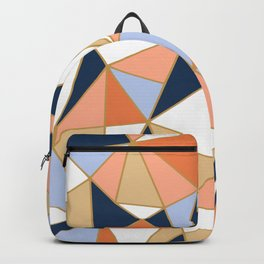 Festive, Geometric Art, Orange, Navy, Blue, Gold, Abstract Art Backpack