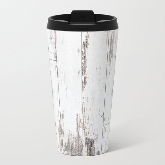 White Wood Metal Travel Mug