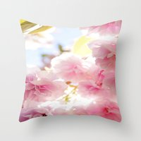 cherry blossom Throw Pillows featuring Cherry Blossom by 2sweet4words Designs