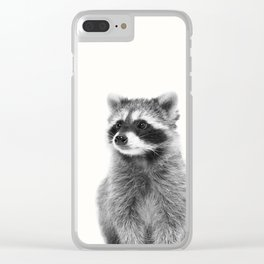 Black and white raccoon Clear iPhone Case