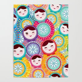 Russian dolls matryoshka, pink blue green colors colorful bright pattern Poster