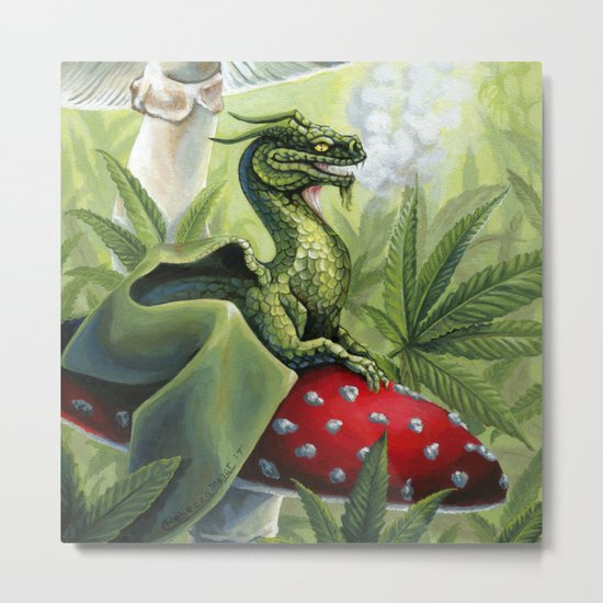 Smoking Dragon in Cannabis Leaves Metal Print