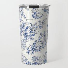 Blue French Toile Travel Mug