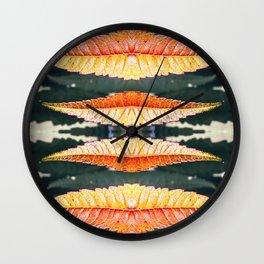 Fresh orange sumac leaves pattern surreal kaleidoscope Wall Clock