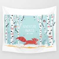 adventure Wall Tapestries featuring Adventure Awaits by Freeminds