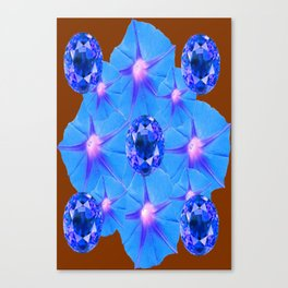 Coffee Brown Blue Morning Glories Geometric Art Sapphires Canvas Print