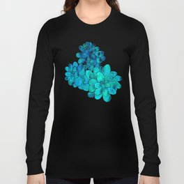 Turquoise succulents Long Sleeve T-shirt