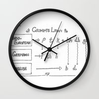 law Wall Clocks featuring Grimm's Law by Simpson Jane