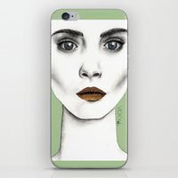 cara iPhone & iPod Skins featuring Cara by Vicky Ink.