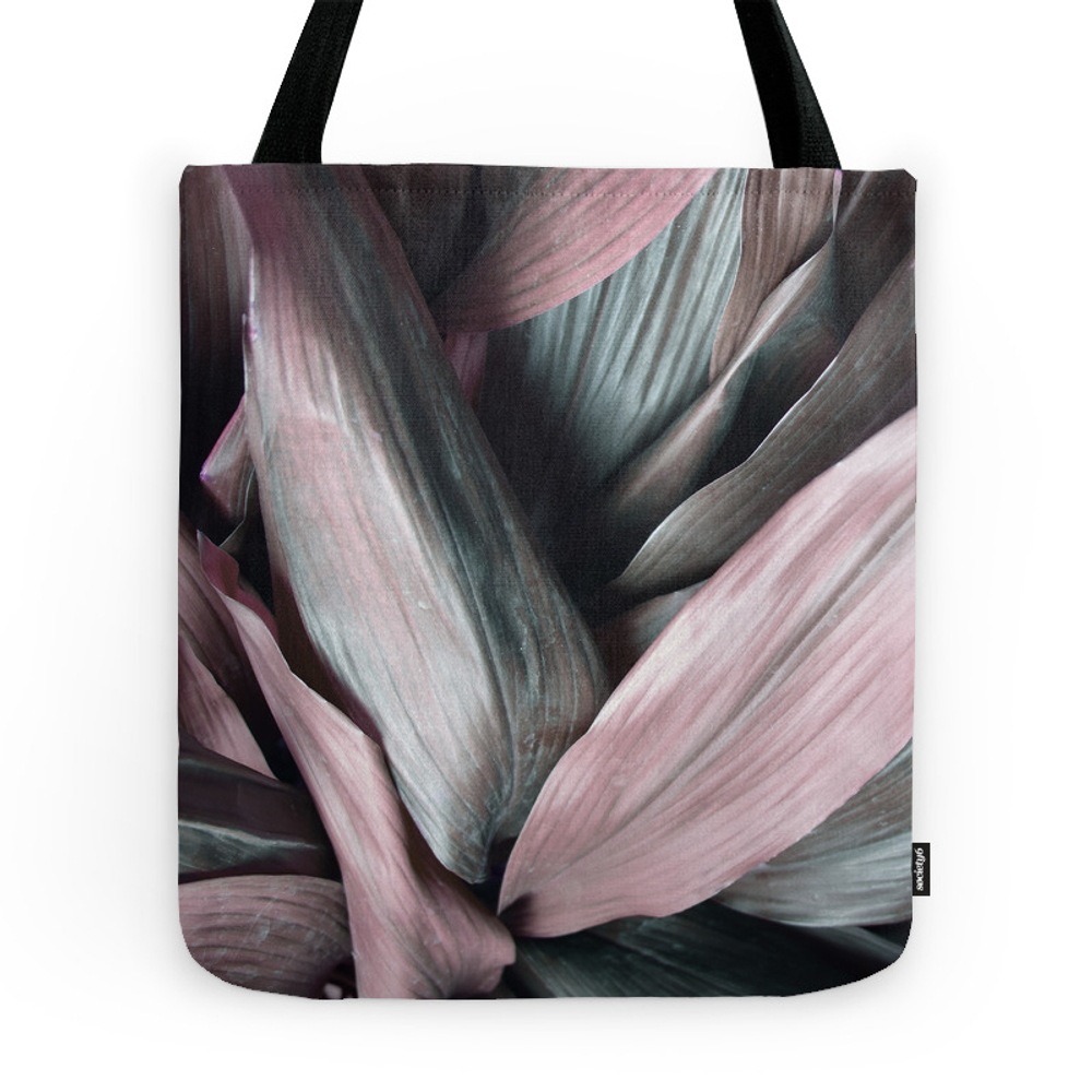 Pink Plant Leaves Tote Purse by printsproject (TBG7653506) photo