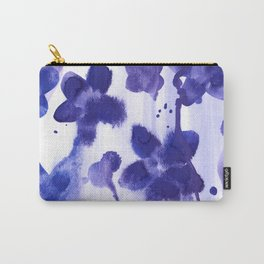 Floral splash: Abstract watercolor painting in purple and blue Carry-All Pouch