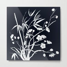 bamboo and plum flower white on black Metal Print