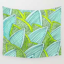Sea of Leaves - Blue and Green Leaf pattern Wall Tapestry