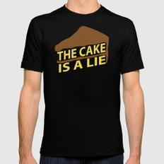 The Cake Is A Lie (Orange Version) Mens Fitted Tee MEDIUM Black