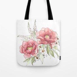 Watercolor Flowers - Garden Roses Tote Bag