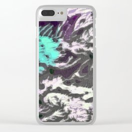 Aqua & Violet Thicket Clear iPhone Case