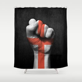 English Flag on a Raised Clenched Fist Shower Curtain