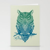 owls Stationery Cards featuring Warrior Owl by Rachel Caldwell