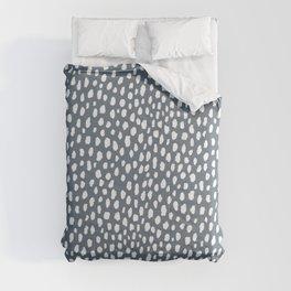 Handmade polka dot brush spots (white and slate gray/blue) Comforters