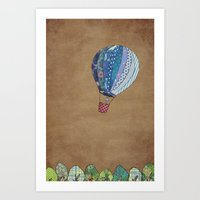 hot air balloon Art Prints featuring Blue hot air balloon by Sof Andrade