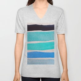Bright Blue Sea Ribbons Unisex V-Neck