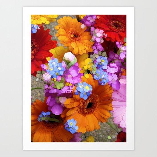 Rainbow Flower Abstract Art Print