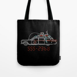 Who You Gonna Call? Ghostbusters Original Hearse Car Tote Bag
