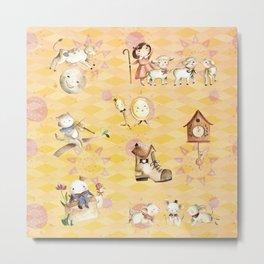 Lemon Nursery Rhyme Pattern Metal Print