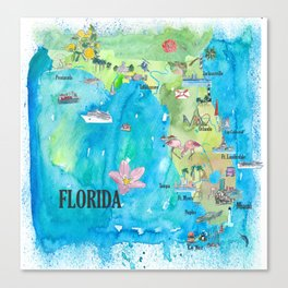 USA Florida State Fine Art Print Retro Vintage Map with Touristic Highlights Canvas Print
