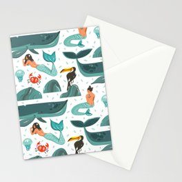 Mermaid pattern Stationery Cards