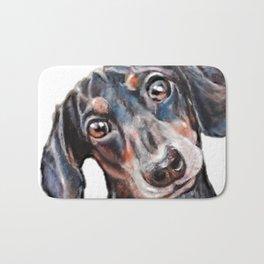 Dachshund sausage dog painting Bath Mat