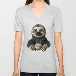 Sloth smilling with coffee latte Unisex V-Neck