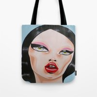minnie Tote Bags featuring MINNIE by Zelda Bomba