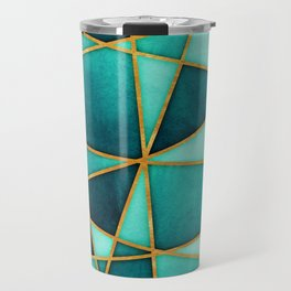 Aquamarine Watercolor Skewed Color Blocks Travel Mug