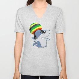 Funny Reggae Shark Design Gift Rastafari Unisex V-Neck