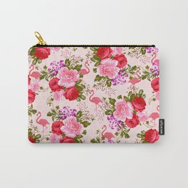 Vintage pink elegant roses floral watercolor tropical flamingo Carry-All Pouch