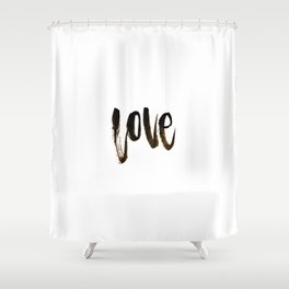 love in brush calligraphy Shower Curtain