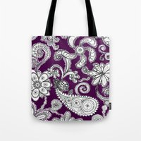 burgundy Tote Bags featuring Burgundy by Marcela Caraballo