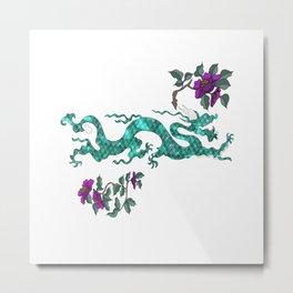 Green oriental Dragon Metal Print
