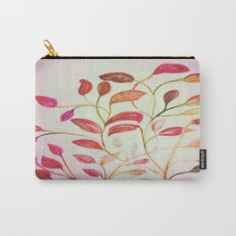 Red and Green Leaves! On Pink! Spring Carry-All Pouch