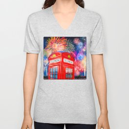 Fun Fireworks Over An Iconic Red British Phone Box Unisex V-Neck