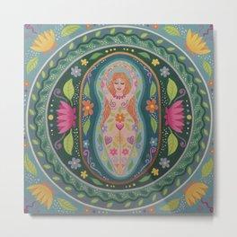 Spring Goddess Mandala Metal Print