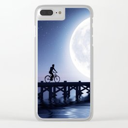 Man cycling on the bridge under the moonlight,3d rendering Clear iPhone Case