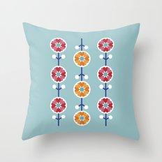 Scandinavian inspired flower pattern - blue background Throw Pillow
