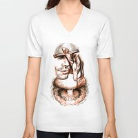 apocalypse now V-neck T-shirts featuring Apocalypse kiss by Salgood Sam