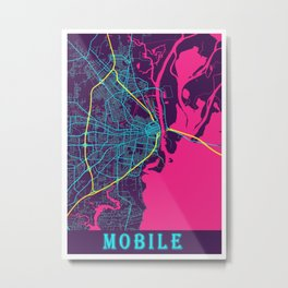 Mobile Neon City Map, Mobile Minimalist City Map Art Print Metal Print