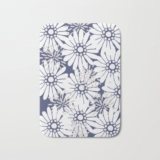 Summer Flowers Dark Blue Bath Mat